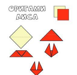 Собери оригами - лиса