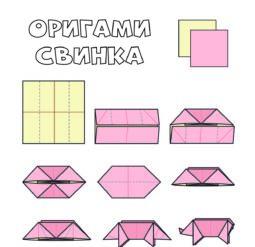 Сложи оригами - свинка