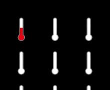 Закрась температуру на термометре