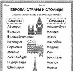 Европа: Страны и столицы