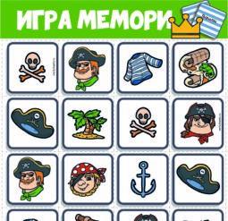 Игра Мемори для малышей. Пираты