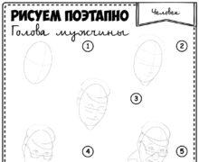 Рисуем поэтапно.Голова мужчины