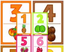 Карточки цифры фрукты, ягоды и орехи