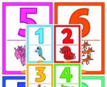 Карточки с цифрами от 0 до 10 - Животные