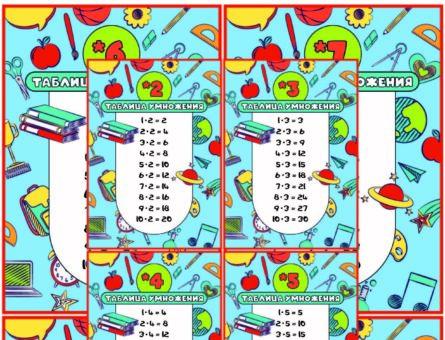 Таблица умножения - Мини плакаты