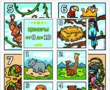 Цифры от 0 до 10 - Весёлые животные. Карточки