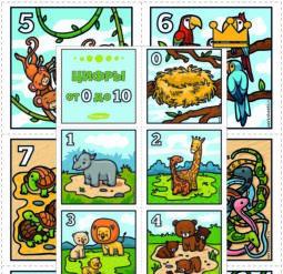 Цифры от 0 до 10 карточки Веселые животные