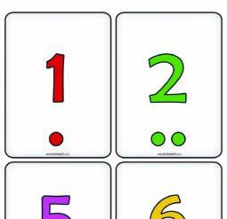 Цифры от 1 до 12 - Точки. Карточки