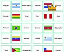 Страны Южная Америка - флаги и столицы - карточки