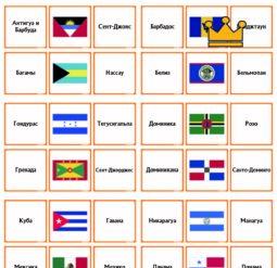 Страны Северная Америка - флаги и столицы - карточки