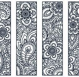 Цветочные закладки - медитативная раскраска