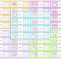 Скопируй по точкам - одноцветные рисунки. Серия 5 листов