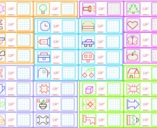 Скопируй по точкам - разноцветные рисунки