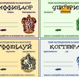 Сертификаты о распределении на факультеты Хогвартса