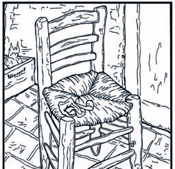 Стул 1888 год - Раскраска Ван Гог
