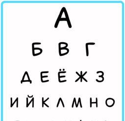 Таблица для проверки зрения - алфавит