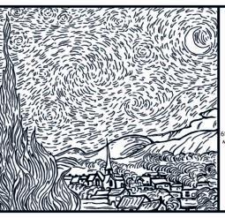 Звездная ночь 1889 - Раскраска Ван Гог