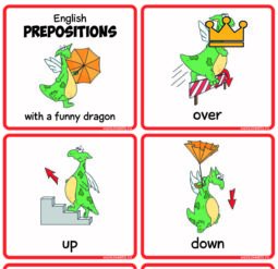 English prepositions with a funny dragon