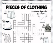Pieces of clothing - crossword puzzle