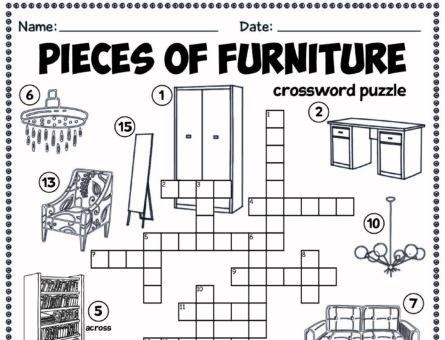Pieces of furniture - crossword puzzle