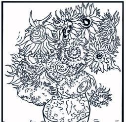 Подсолнухи 1888 год - Раскраска Ван Гог