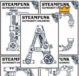 Steampunk alphabet coloring