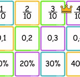 Дроби обыкновенные, десятичные и проценты - карточки соответствия