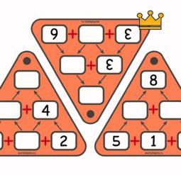 Пирамиды сложения до 20 - карточки