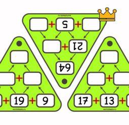 Пирамиды сложения до 100 - карточки