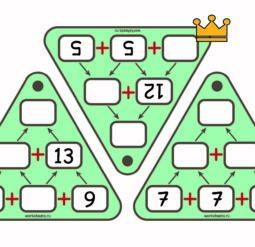 Пирамиды сложения - карточки до 50
